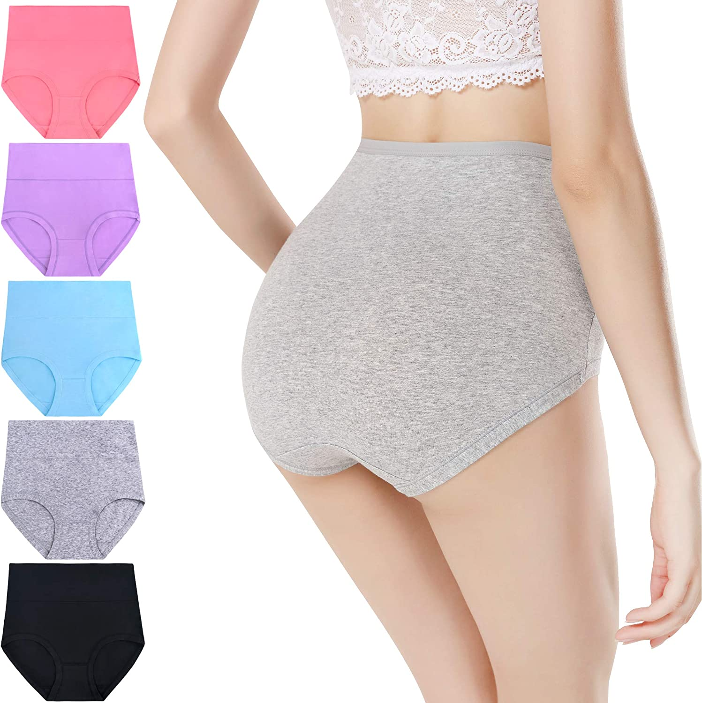 LEVAO Womens Underwear Cotton High Waist Panties Lace Tummy Control Briefs 4 Pack