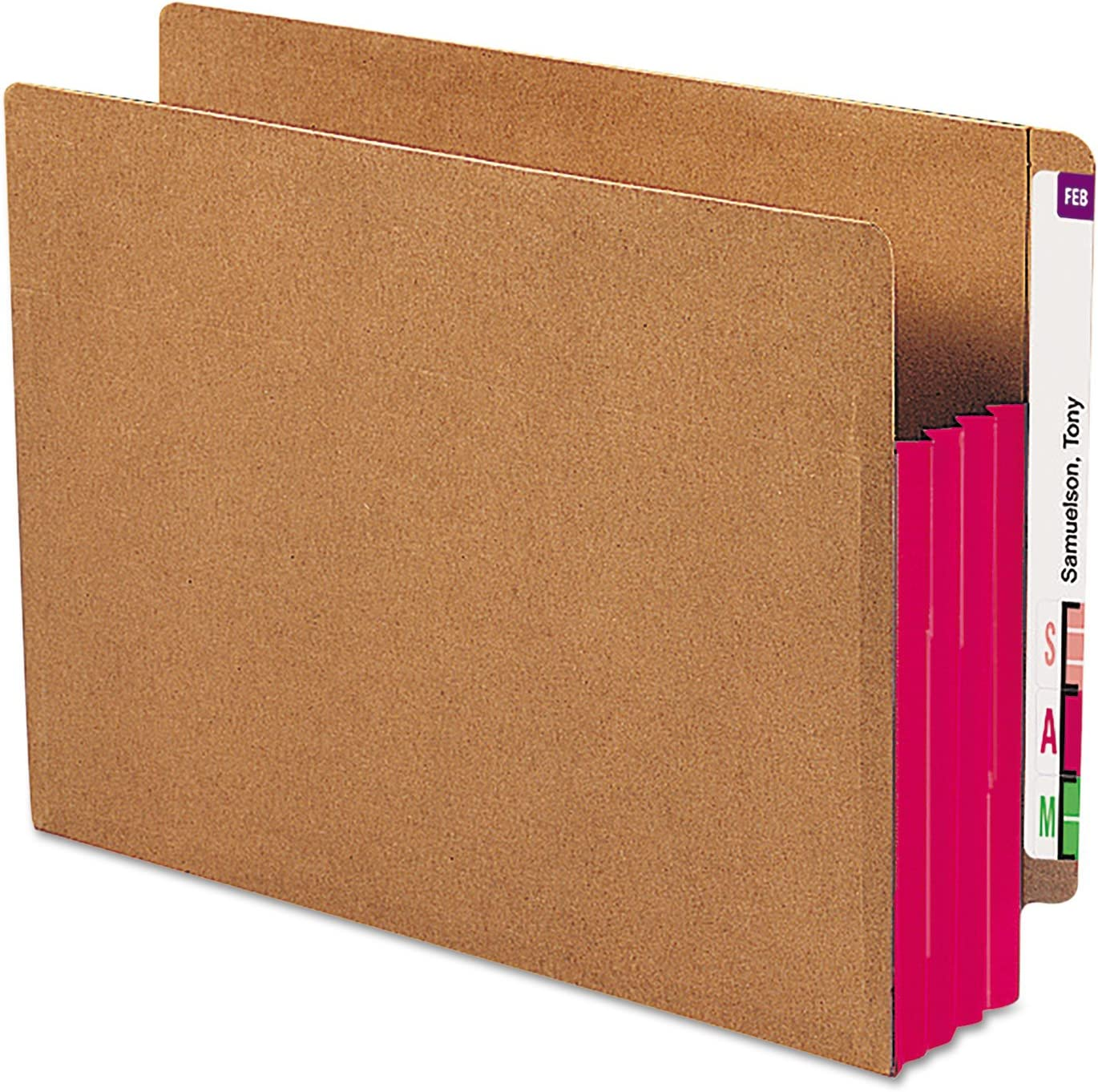 SMD73686 Smead 73686 Red Extra Wide End Tab File Pockets with Reinforced Tab and Colored Gusset