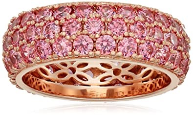 b17e52b50 La Lumiere Rose Gold-Plated Sterling Silver Swarovski Zirconia Fancy Pink  Three-Row Pave Round Cut Ring: Amazon.co.uk: Jewellery