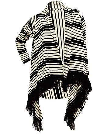 timeless design 5778f 14afe Damen Strickjacke Coat Lang Poncho Cape Pullover Streifen ...