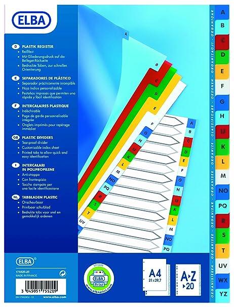 Elba A4 Color Polipropileno Índice AZ Surtido M17552020, Tamaño del paquete [1] SKU