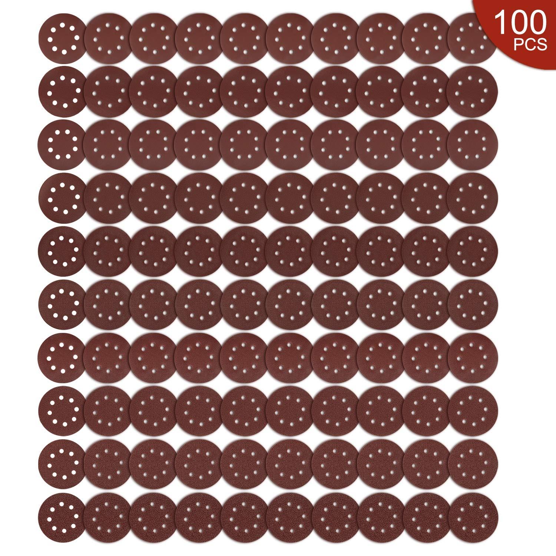iTrunk 100PCS Sander Schleifpads Papierb/ögen Schleifpapier Haken und Schlaufenscheiben 40 60 80 100 120 180 240 320 400 800 K/örnungen Schleifscheiben