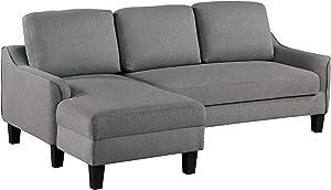 OSP Home Furnishings Lester Chaise Sleeper Sofas, Grey