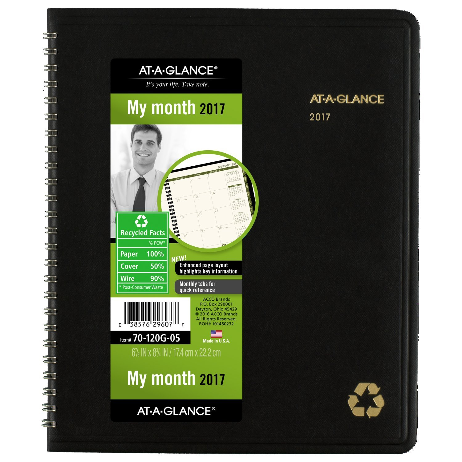 AT-A-GLANCE Monthly Planner / Appointment Book 2017, Recycled, 6-7/8 x 8-3/4'', Black (70-120G-05)