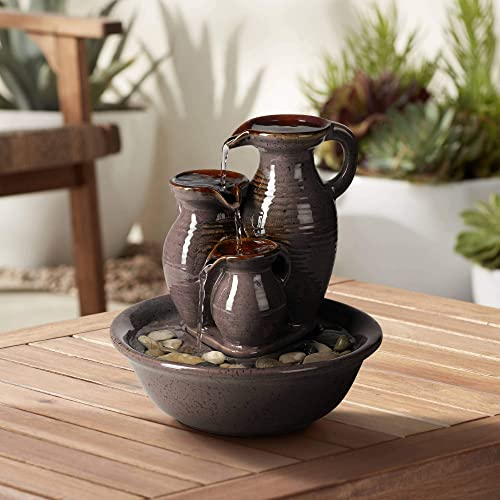 John Timberland Triple Jug Zen Indoor Table-Top Water Fountain 9 High Cascading for Table Desk Office Patio Home Bedroom Relaxation
