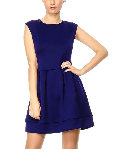 Solo Capri Abito Smanicato con Gonna a Pieghe, Vestido para Mujer, Azul (Tampone), S