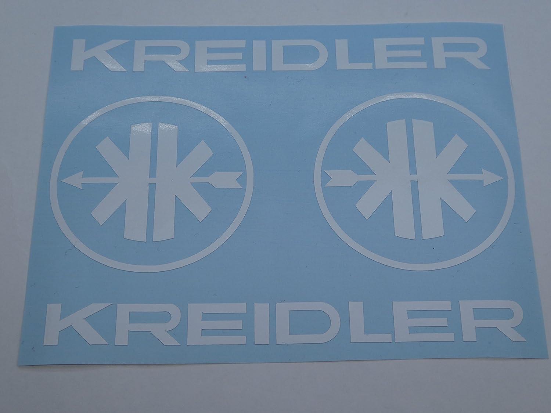 Kreidler Mofa Schriftzug + Logo MF Aufkleber Sticker Schriftzug Dekor WEISS FDonlinehandel