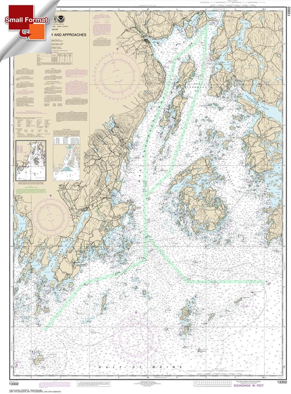SMALL FORMAT WATERPROOF Penobscot Bay and Approaches 21.00 x 27.90 Paradise Cay Publications NOAA Chart 13302