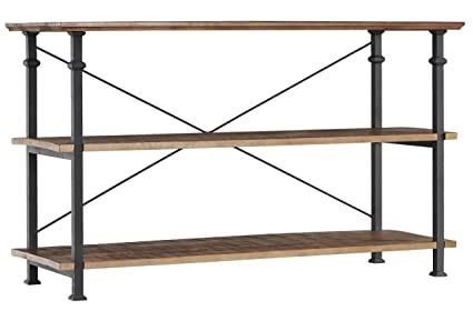 Homelegance Factory Modern Industrial Style Sofa Table, Rustic Brown