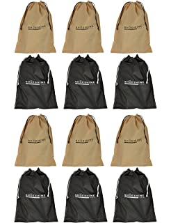Shoeshine India Black Beige Fabric Shoe Bag Set Of 12 Bags