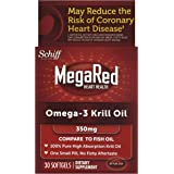 MegaRed Omega-3 Krill Oil-100% Pure Antarctic Krill Oil-Optimal Combination of Omega 3 Fatty Acids-350mg/Softgel, 1 Month Supply, 30 Softgels