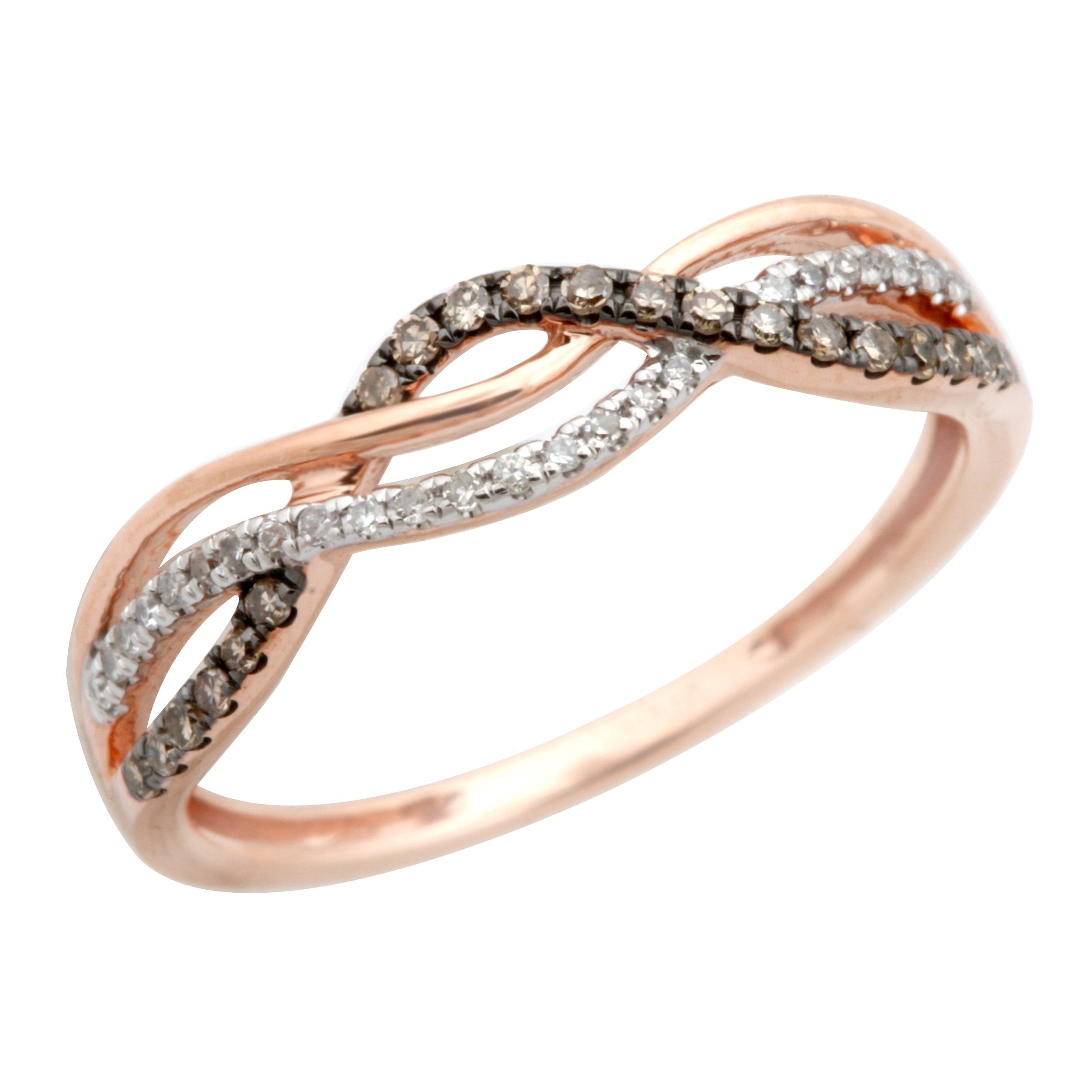 Twisted Half Eternity Anniversary Ring With Round Natural Brown & White Diamond, 14k Rose Gold, Size 6