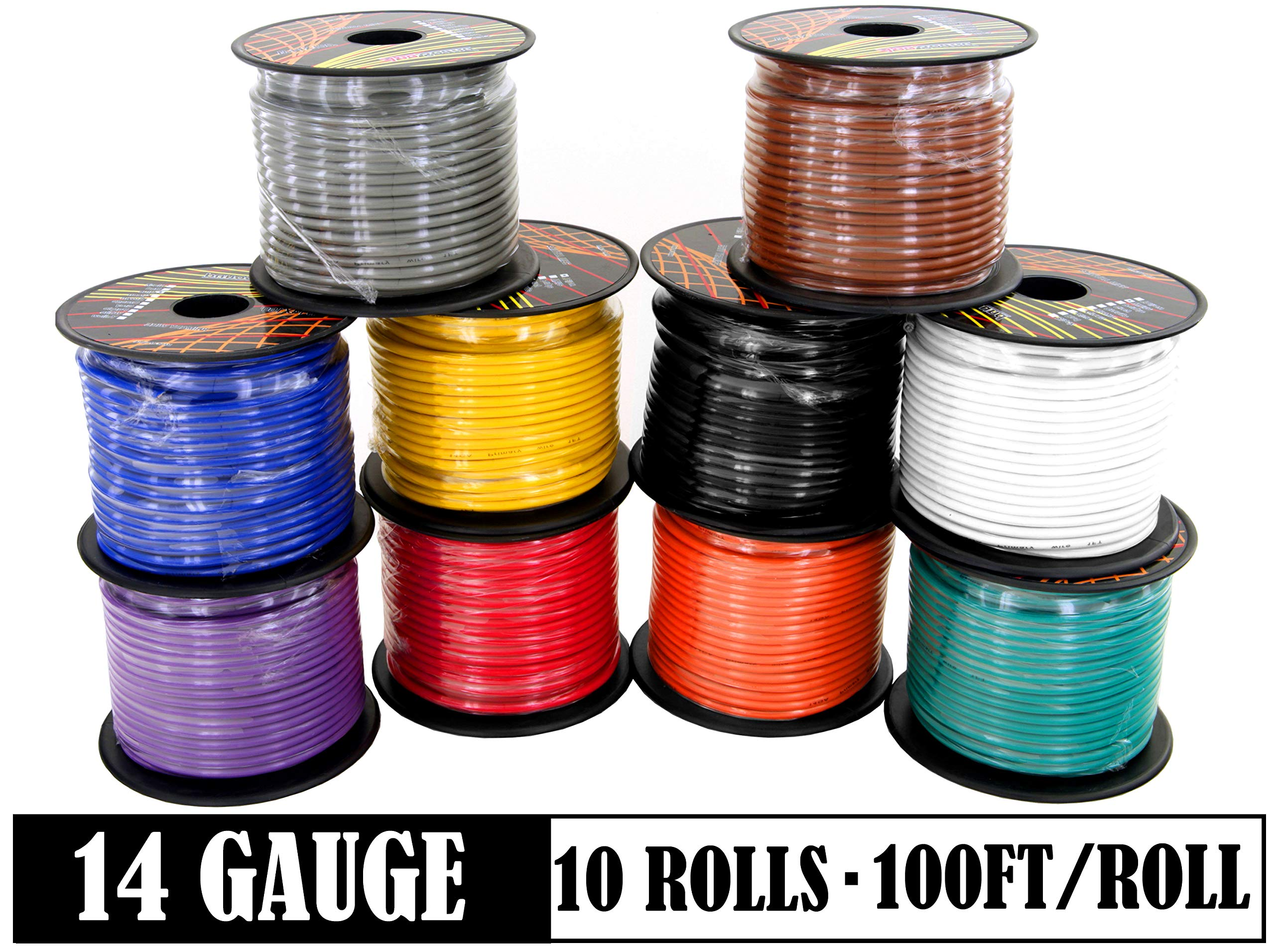 14 Gauge Copper Clad Aluminum Low Voltage Primary Wire in 10 Color Pack, 100 feet Roll (1000 feet Total) for 12V Automotive Harness Car Video Stereo Wiring. Also in 4 Color Set by GS Power