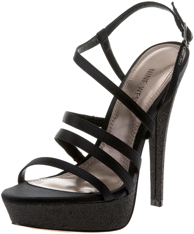 Nine West Women's Armcandy Platform Sandal B004UJRRKI 9.5 B(M) US|Black Satin