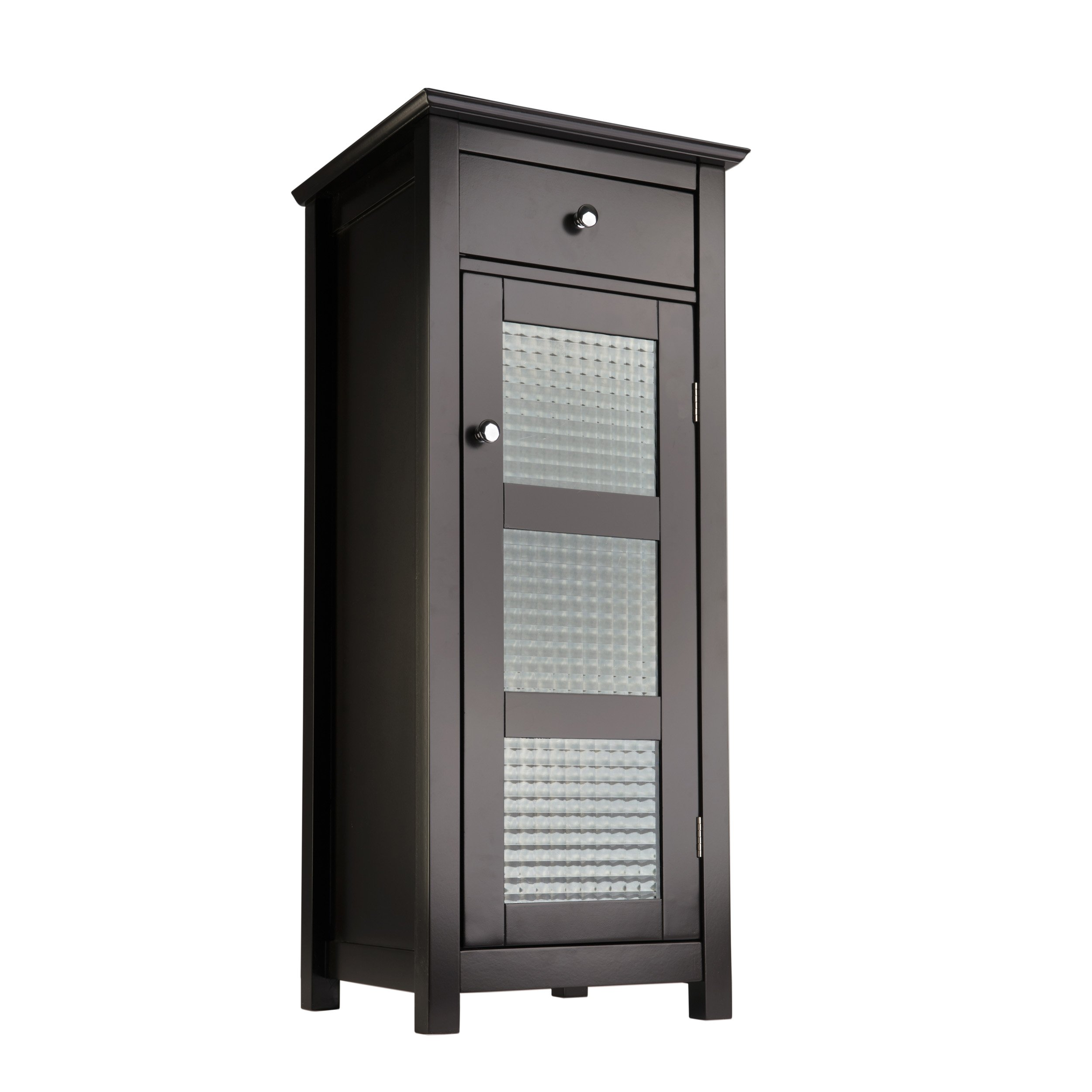Elegant Home Fashions Chesterfield Collection Floor Cabinet One Door One Drawer, Espresso