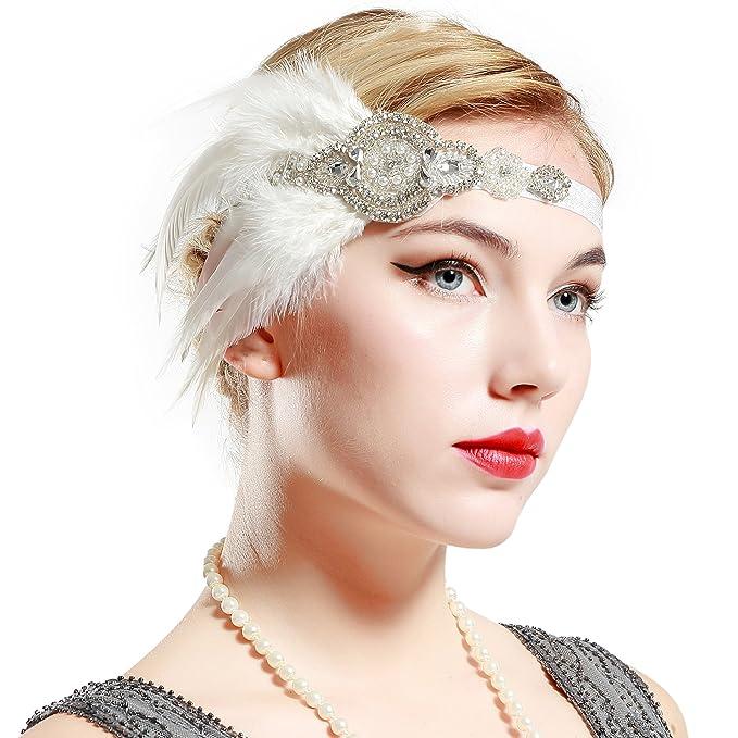 BABEYOND Años 20 Flapper Diadema de Plumas Negras Diadema Gatsby Vintage Cinta para el Pelo con