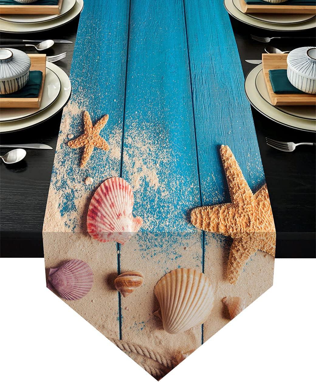Kawani Starfish Beach Table Runner Non-Slip Coastal Kitchen Blue Wood Striped Decor Seashell Table Runners 13x70 Inch for Farmhouse Dining Home Outdoor Party Wedding Decor