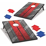 Backyard Champs Corn Hole Outdoor Game: 2 Portable MDF Cornhole Boards and 8 Bean Bags, 2 x 3 Foot with Rope Handles