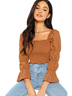 84c2efc7fb FAFOFA Women Sexy Square Neck Button up Puff Long Sleeve Linen Party ...