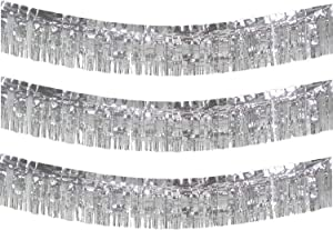 10 Feet Long Roll Foil Fringe Garland - Pack of 3 | Shiny Metallic Tassle Banner | Ideal for Parade Floats, Bridal Shower, Wedding, Birthday | Wall Hanging Fringe Garland Banner (Silver)