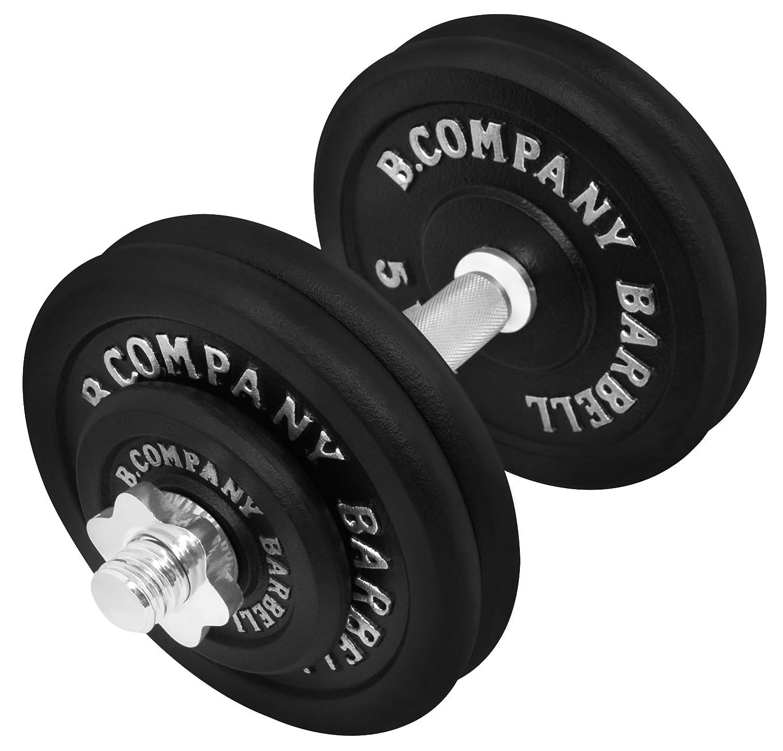 Bad Company Guss Kurzhantel-Set 25Kg (1 x Kurzhantelstange 35cm, 2x1,25 und 4x5Kg Hantelscheiben) Hantelset Hanteln Gewichte