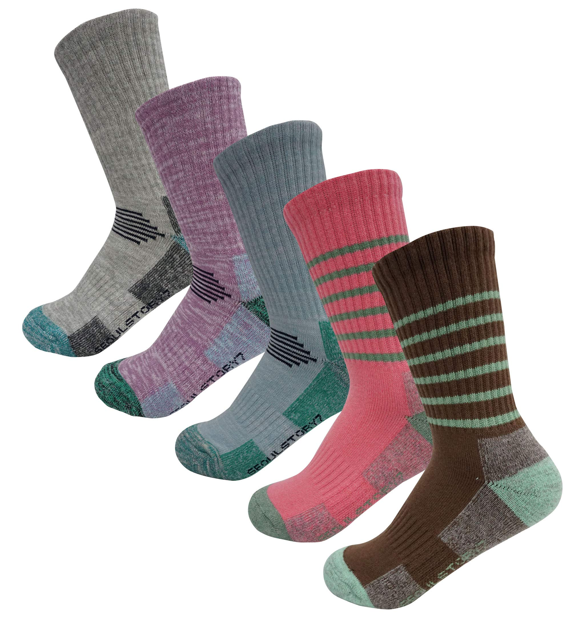 SEOULSTORY7 5Pack Women's Multi Performance Padded Hiking/Outdoor Crew Socks Gray/Purple/LightBlue/Thin Stripe Pink/Thin Stripe Brown Small by SEOULSTORY7
