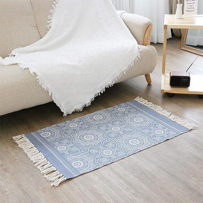 Famibay Area blu, 60 x 90 cm e 60 x 130 cm decorazione per soggiorno con nappe Set di tappeti lavabili in cotone intrecciato a mano camera da letto