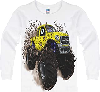 product image for Shirts That Go Little Boys' Long Sleeve Big Yellow Monster Truck T-Shirt