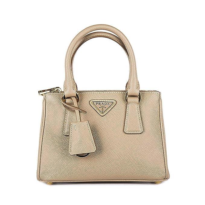 baa147a315d8 Prada Saffiano Lux Double Zip Bandoliera Mini Beige Cammeo Purse 1BH907  F0770: Amazon.ca: Clothing & Accessories