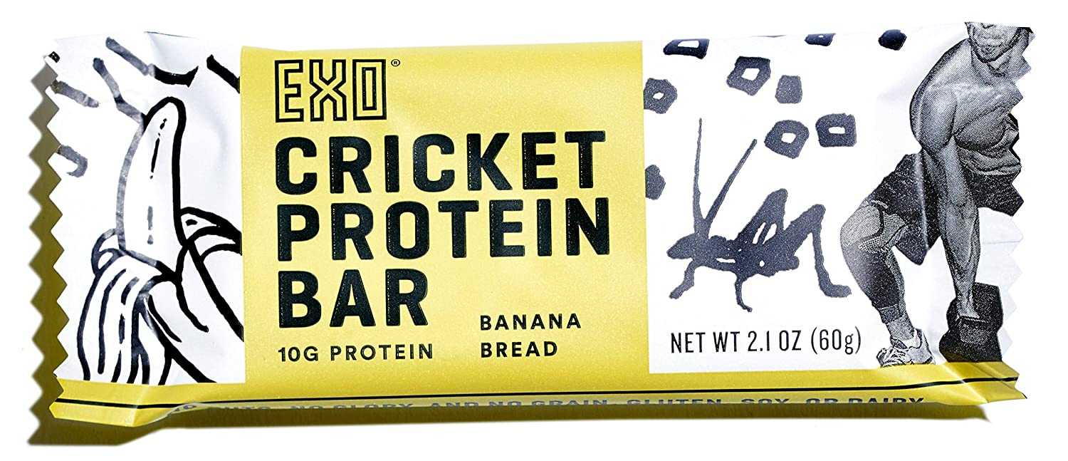 Exo Cricket Flour Protein Bars, Banana Bread, 12 Count, 10g Protein, Paleo Friendly, Gluten-free, High Fiber, Dairy Free Energy Bars