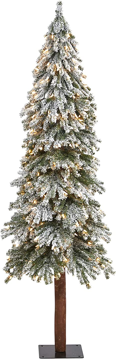 Nearly Natural 6ft Flocked Grand Alpine Artificial Christmas Tree With 300 Clear Lights And 601 Bendable Branches On Natural Trunk White Green 6 Home Kitchen