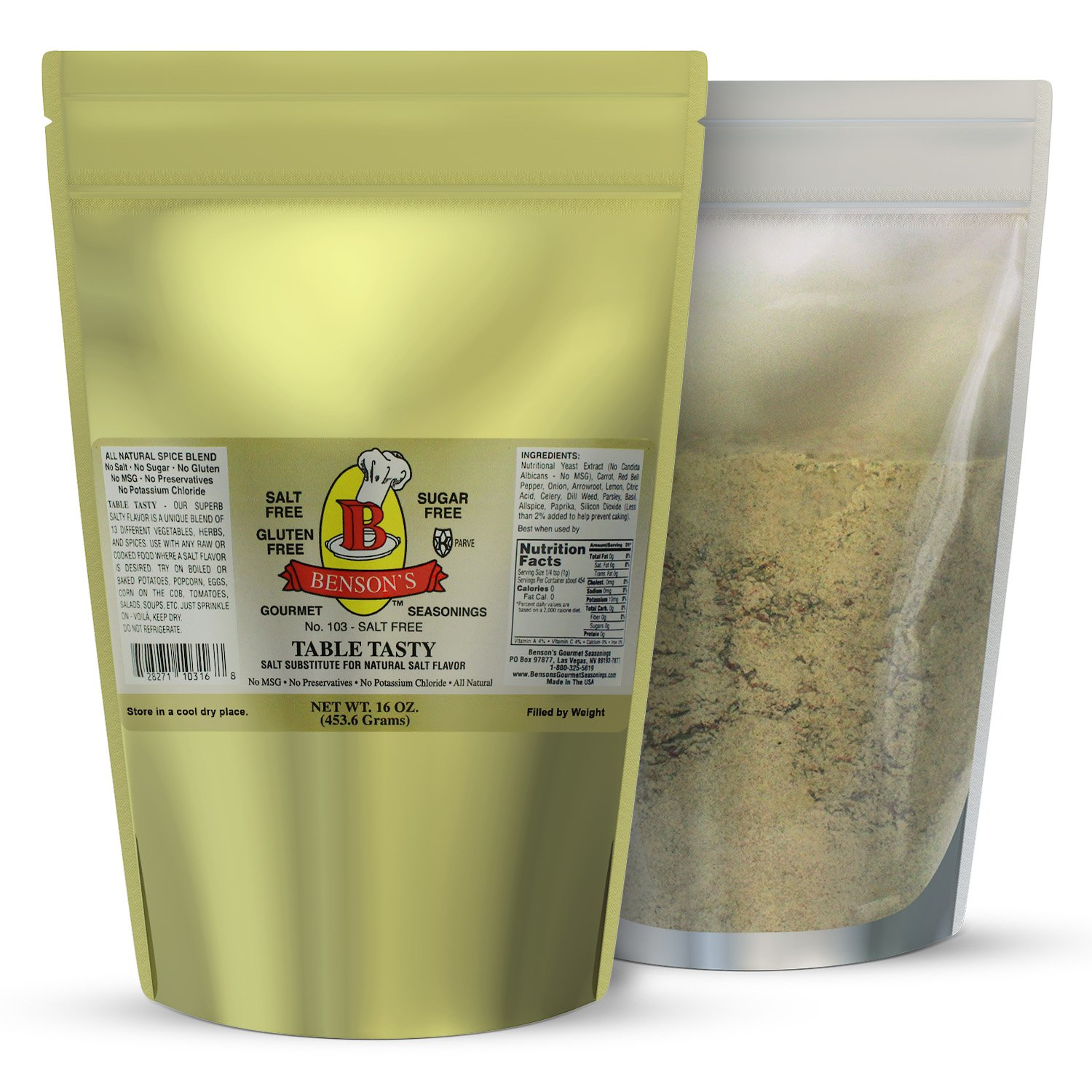 1 pound Table Tasty No Potassium Chloride Salt Substitute - No Bitter After Taste - Good Flavor - No Sodium Salt Alternative - 1 Lb Resealable Bag - More Economical by Benson's Gourmet Seasonings (Image #1)