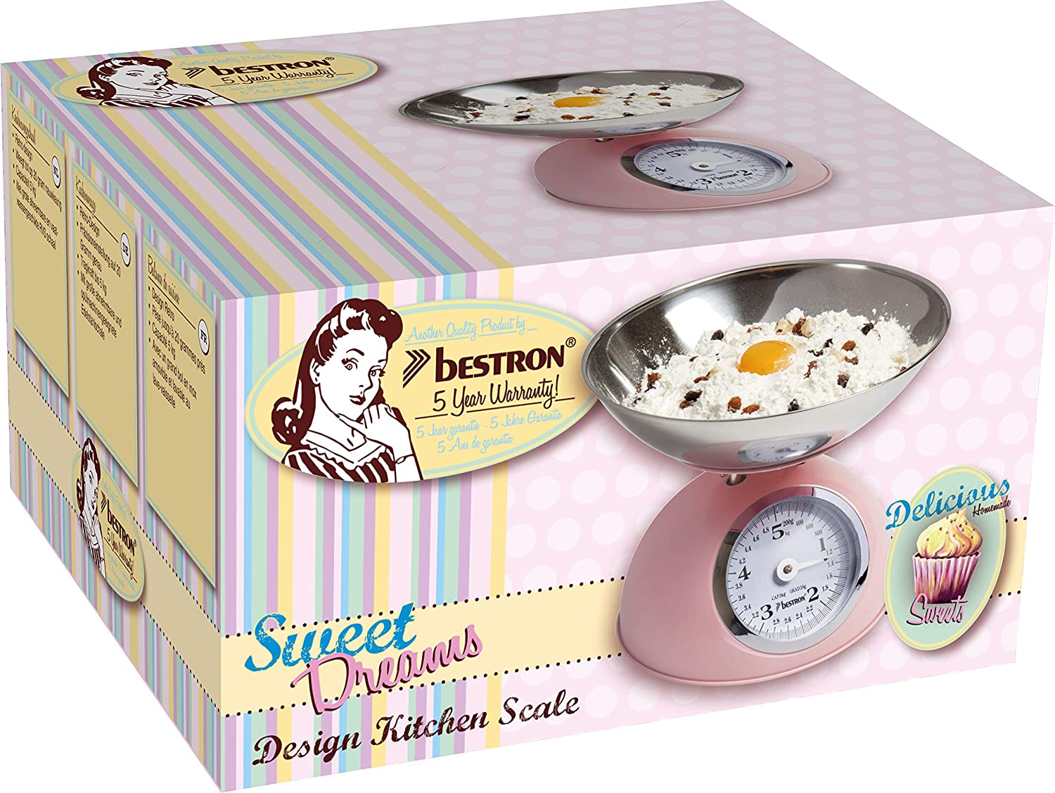 Bestro Pastel Pink Retro Kitchen Weighing Scales