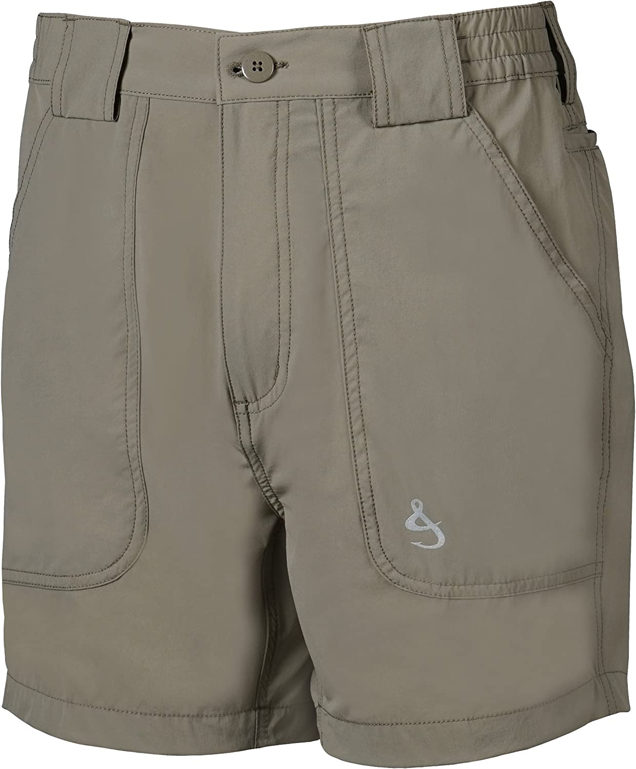 Hook and Tackle Big Mens Side Elastic Drink Can Island Canvas Fishing Short,Olive,44