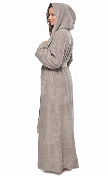 30c6c47b49 Arus Womens Princess Robe Ankle Long Hooded Silky Light Turkish Cotton  Bathrobe at Amazon Women s Clothing store