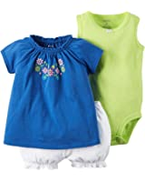 Carter's Baby Girls' Diaper Cover Set Blue Multi Embroidery