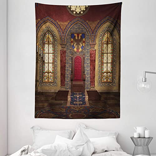 Ambesonne Gothic Tapestry, Red Medieval in Chapel Eagle Portrait on Wall Fantasy Building Print, Wall Hanging for Bedroom Living Room Dorm Decor, 60 X 80 , Brown Ruby