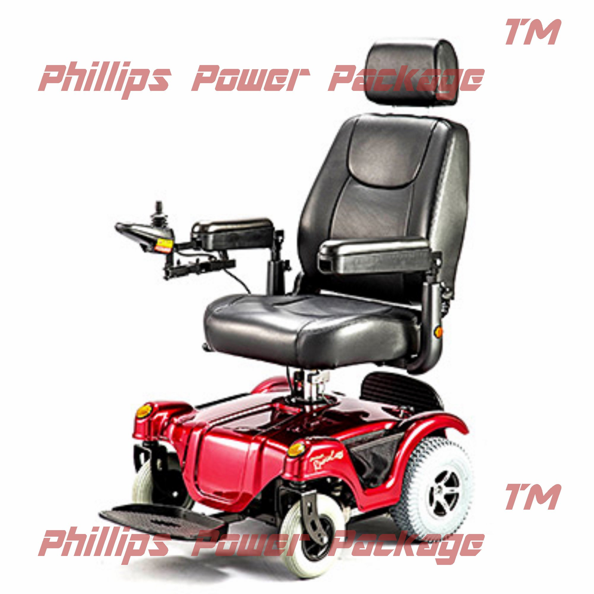 Merits Health Products - Compact FWD/RWD Dualer - Power Chair - 18''W x 16''D - Red - PHILLIPS POWER PACKAGE TM - TO $500 VALUE