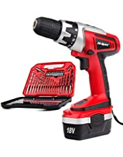Hi-Spec 18V 1000mAh Battery Cordless Drill Driver with Speed Control, LED Light and Upto 18Nm of Torque. Includes 30 Piece Accessory Set of Drill and Driver Bits Laid in Compact Tray Case