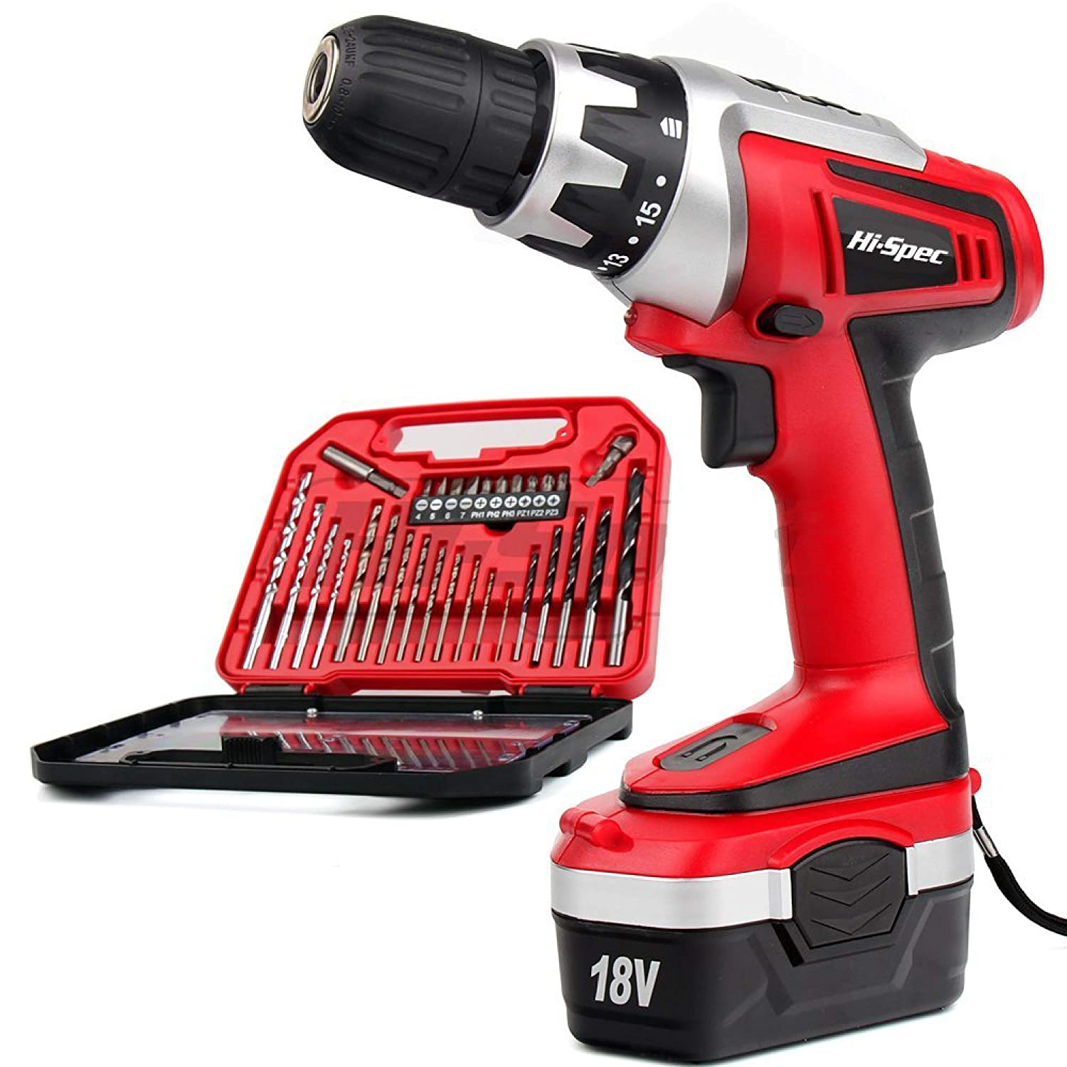 Hi-Spec 8V Cordless Drill Screwdriver with 1300mAh Lithium-Ion Battery, 15+1 Position Keyless Chuck, Variable Speed Trigger, 10N.m LED and 38pc HSS Drill and Screw Bit Drill Driver Power Tool Set Hi-Spec Products