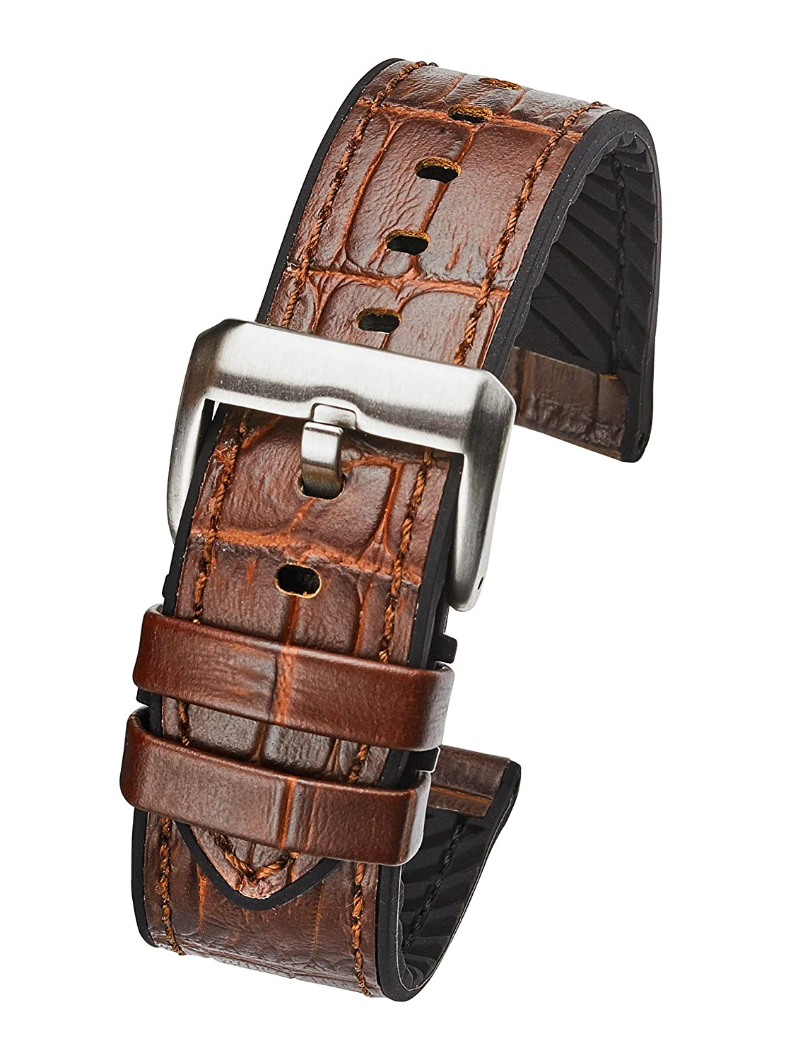 Genuine Alligator Grain Leather Watch Band withシリコン裏地 – ブラウン – 20 mm、22 mm , 24 mm 20mm  20mm B074SBQRM2