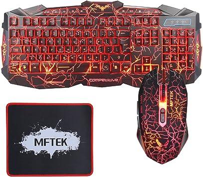 Gaming teclado y ratón - MFTEK USB cable con LED 3 colores (rojo, azul, púrpura) retroiluminada Juego de teclado y ratón combinado Con el cojín de ...