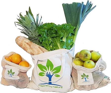 inspiredb ynature Bolsas Reutilizables de Fruta y verdura algodón Juego de 3 Bolsa/Bolsa De La Compra plastikfreier la Compra Frutas Red Verduras Red 100% reciclable: Amazon.es: Hogar