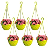 TrustBasket Colourful Plastic Hanging Basket with Bottom Saucer (Yellow) - Set of 6