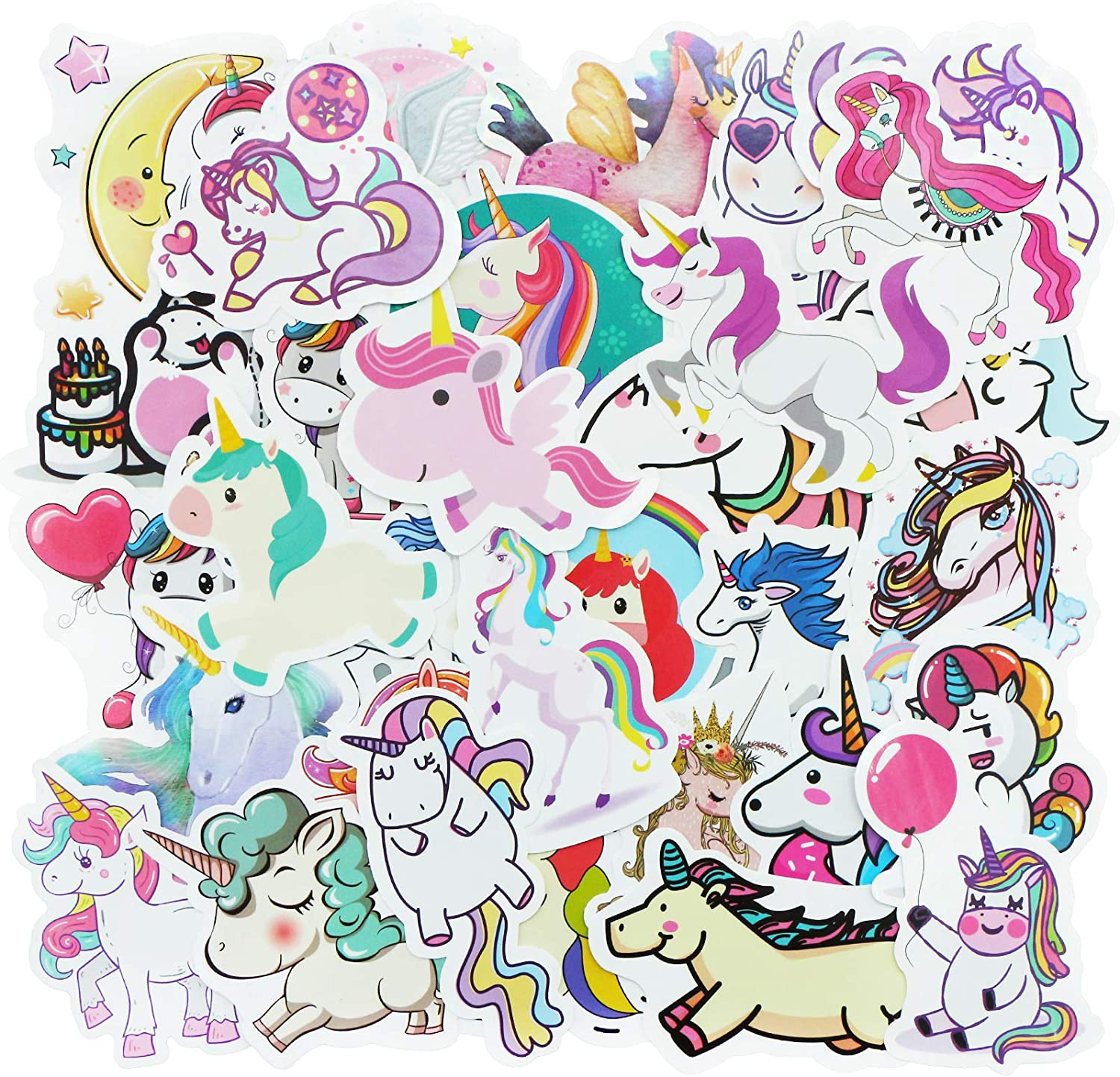 YAMIOW Cute Waterproof Vinyl Stickers for Luggage Guitar Water Bottle Fridge Travel Case Laptop Motorcycle Car Decal Graffiti Stickers (100 pcs for Unicorn Style)