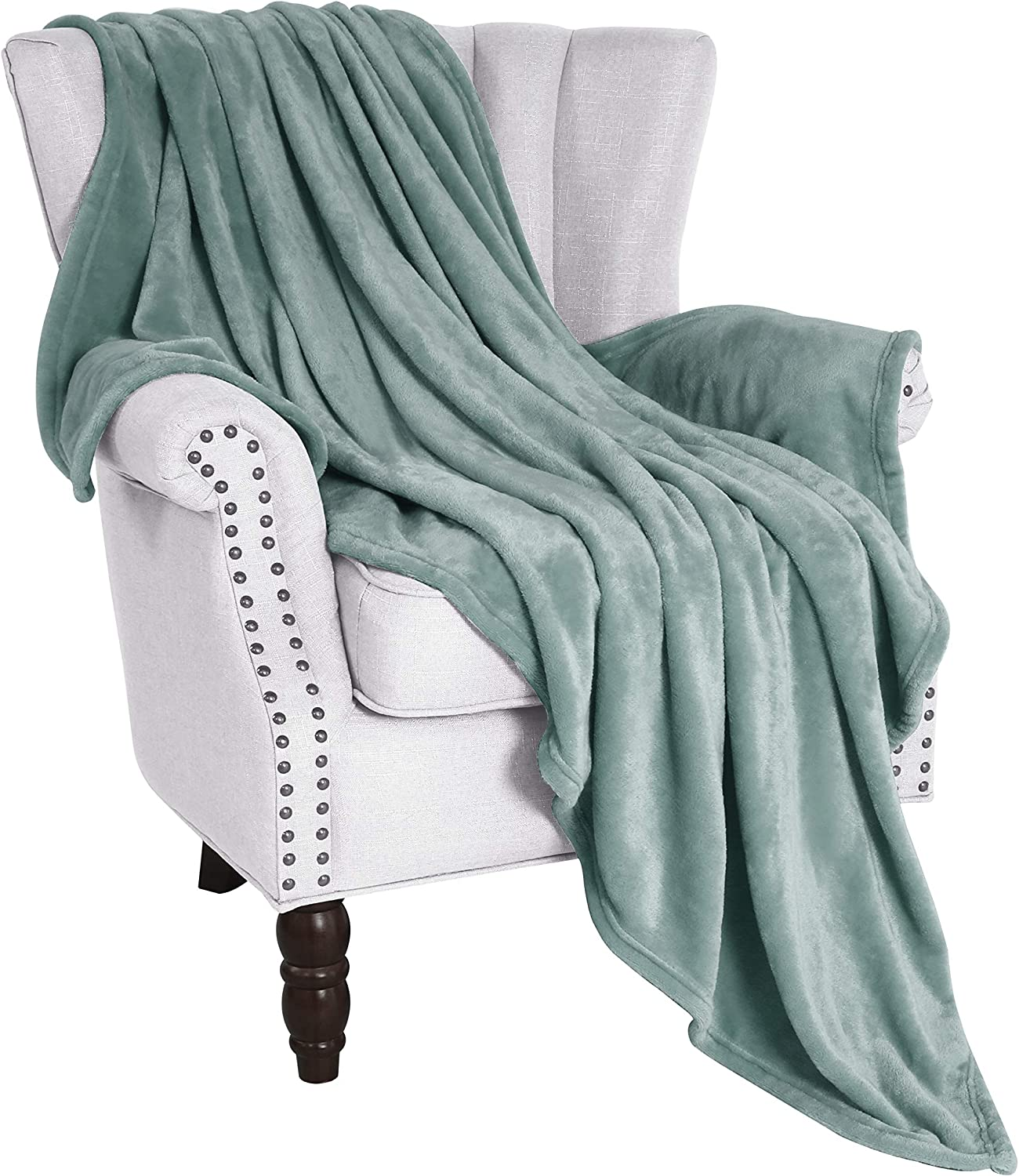 "Exclusivo Mezcla Flannel Fleece Velvet Plush Soft Throw Blanket – 50"" x 60"" (Celadon)"