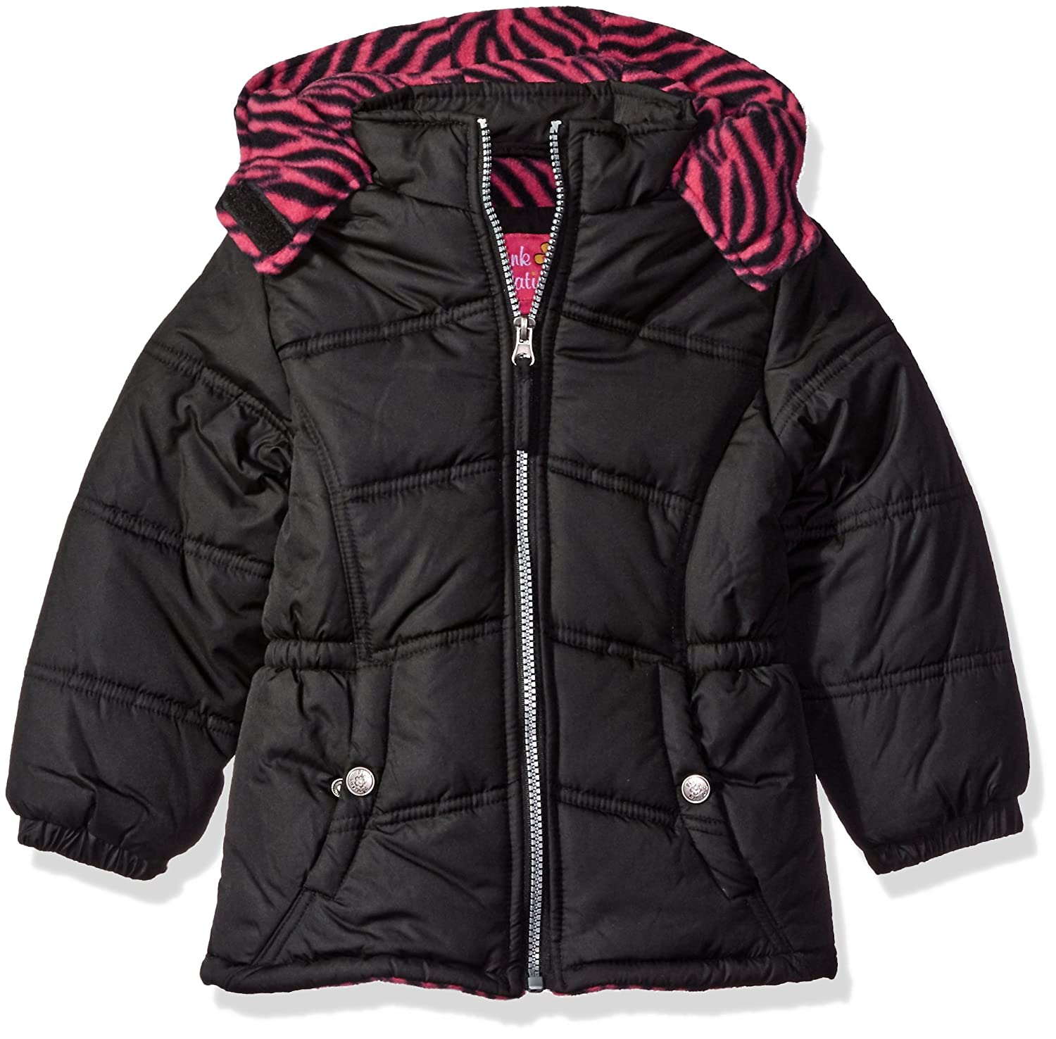 Pink Platinum Girls Puffer Jacket with Zebra Print Lining and Accessories