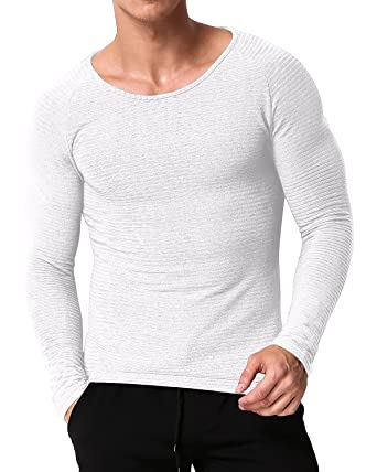 6d5c088547cb0 MODCHOK Homme T-Shirt Manche Longue Top Tee Shirt Pull Sport Basic Slim Fit  Blanc