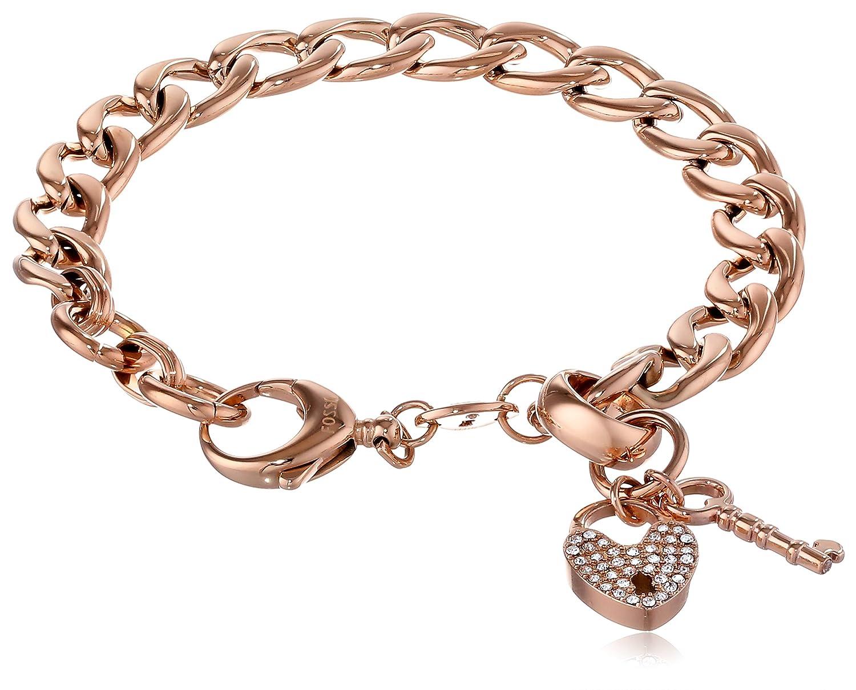 Amazoncom Fossil Rose GoldTone Charm Starter Bracelet Jewelry