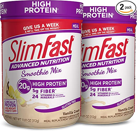 Amazon.com: SlimFast Advanced Nutrition Vanilla Cream Smoothie Mix – Weight Loss Meal Replacement – 20g Protein – 11.4 Oz. Canister – 12 Servings (Pack of 2) - Pantry Friendly: Health & Personal Care